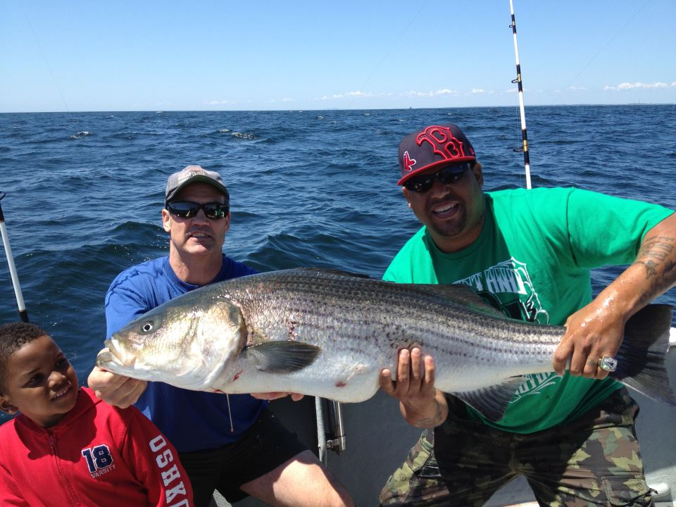 Jermaine Wiggins Catches Giant Striped Bass